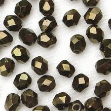 4mm Fire Polished, Metallic Brown - 50